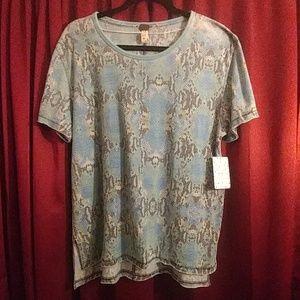 Free People Blue Snakeskin T shirt